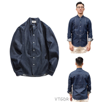 Vintage Collarless 9oz Denim Work Shirt Men's Jean Shirts Jacket Selvage White Listed Slim Fit