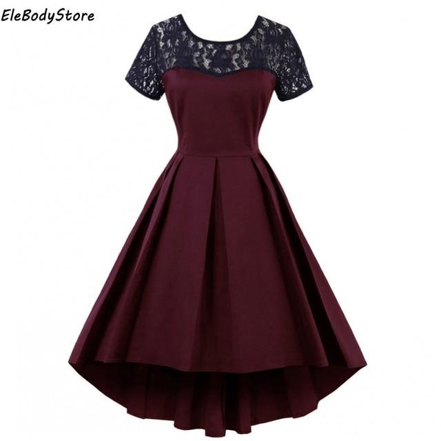 Dress 2018 Plus Size Vintage Women Vestidos 50s 60s Sexy Lace Backless  Vestido Retro Mid Dresses 0a0993b8d809