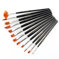 12pcs/set Nylon Hair Wood Rod Watercolor Fan Paint Brush Pen Set for Learning Oil Acrylic Painting Art Paint Brushes Supplies
