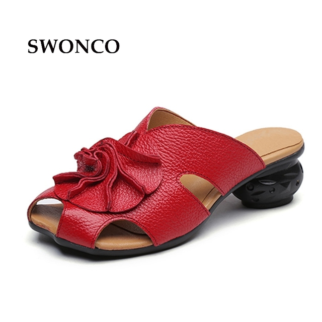 a68dd7098 SWONCO Women s Sandals 2018 Summer Genuine Leather Fashion Strange Style  Heel Ladies Shoes Black Platform Sandals Woman Shoes