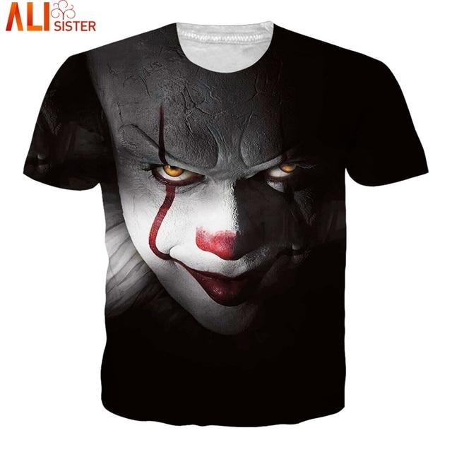 f7cfe068a48 Alisister 3D Clown T Shirt Skull Skeleton Summer T-shirts Men Women Hip Hop  Punk