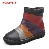 XGRAVITY Hand Made Winter Short Boots 2018 Mixed Colors British Stylish Woman Ankle Boots Genuine Leather