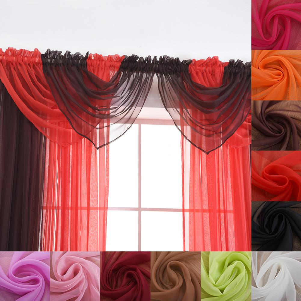 Solid Color Sheer Window Curtain Head Swag Valance Home