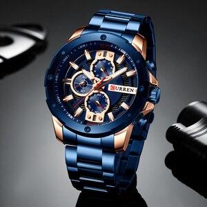 Image 2 - CURREN Männer Uhr Top Marke Edelstahl Herren Uhren Chronograph Quarzuhr Männer Sport Uhr Relogio Masculino Reloj Hombr