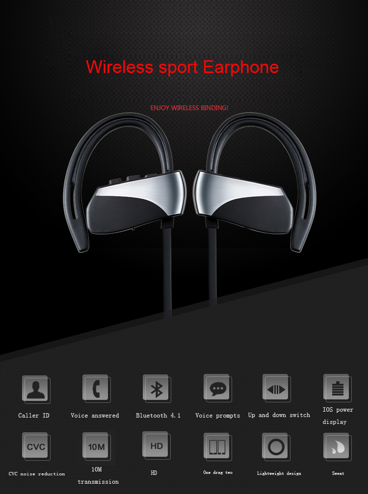 Sport Wireless Bluetooth Earphone Stereo Waterproof Earphones And Headphone Running 4.1 hook Earphones With Microphone Color