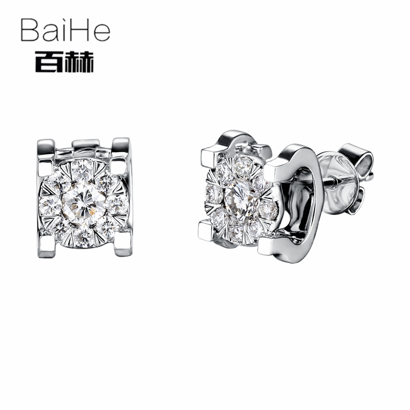 BAIHE Solid 14K White Gold 0.28ct H/SI Natural Diamonds Wedding Engagement Party Trendy Fine Jewelry Gift Diamonds Earrings