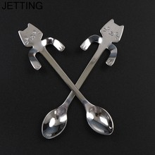 1Pc Creative Stainless Steel Cat Kitty Coffee Spoon Strring Spoon Teaspoon Tea Spoon Dessert Spoon Long Handle Tableware Sliver(China)