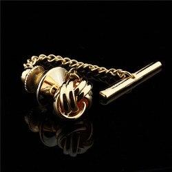 Hawson moda metal nó gravata tack/pino rosa ouro/dourado/prata com corrente de segurança para gravata regular jóias masculinas