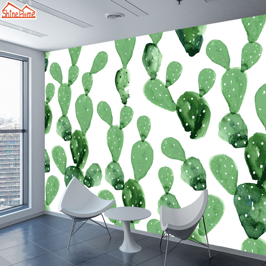 ShineHome-Natural Wallpapers for 3 d Living Room Wallpaper 3d Wall Paper Cactus Oil Painting Mural Rolls Home Walls Decoration home improvement decorative painting wallpaper for walls living room 3d non woven silk wallpapers 3d wall paper retro flowers page 7