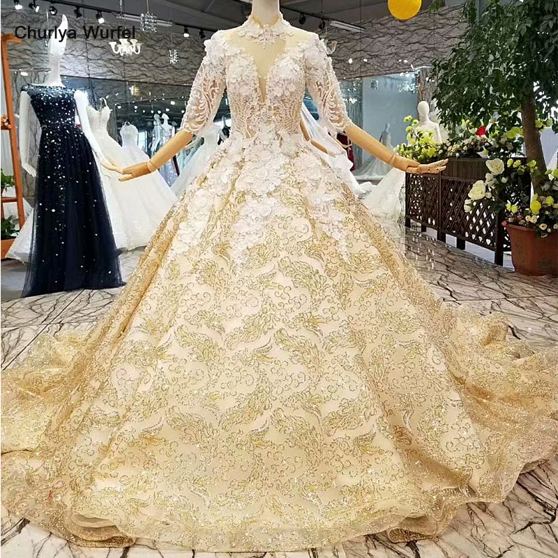 LS547001 free shipping golden women occasion dresses long sleeve high neck 3D flower golden ball gown royal dubai evening dress