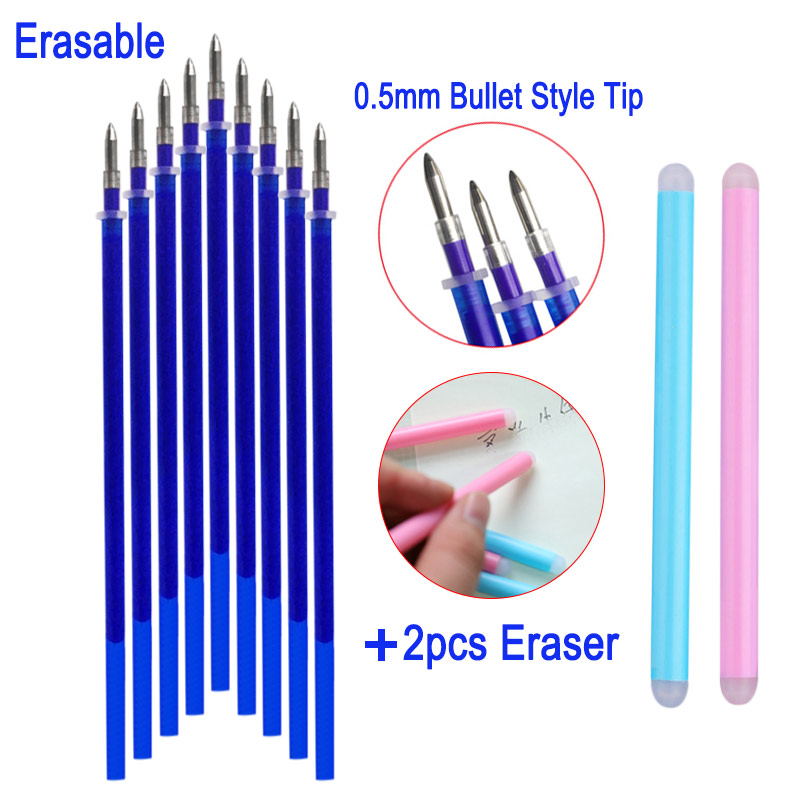 10Pcs/Set +2Pcs Eraser Gel Pen Refill Rod 0.5mm Magic Erasable Pen Accessories Blue Ink Office School Student Writing Stationery