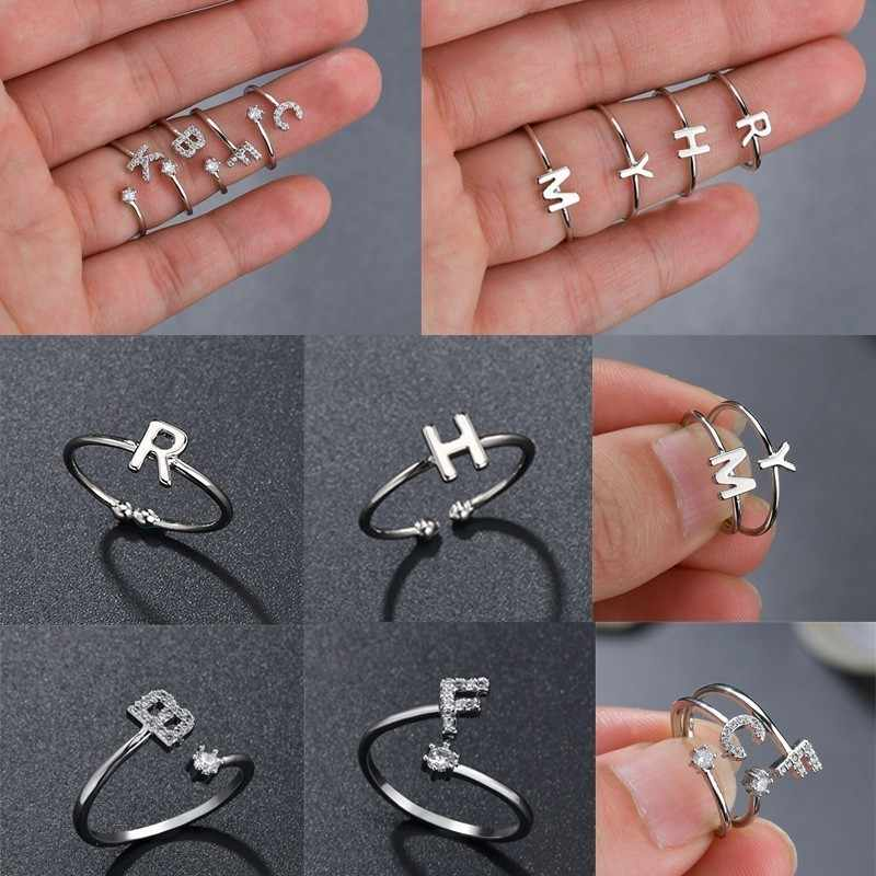 Personalized Stacking A-Z Initial Ring Bohemian Engraved Letter Rings for Women Gold Color Heart Rings Jewelry Drop Shipping
