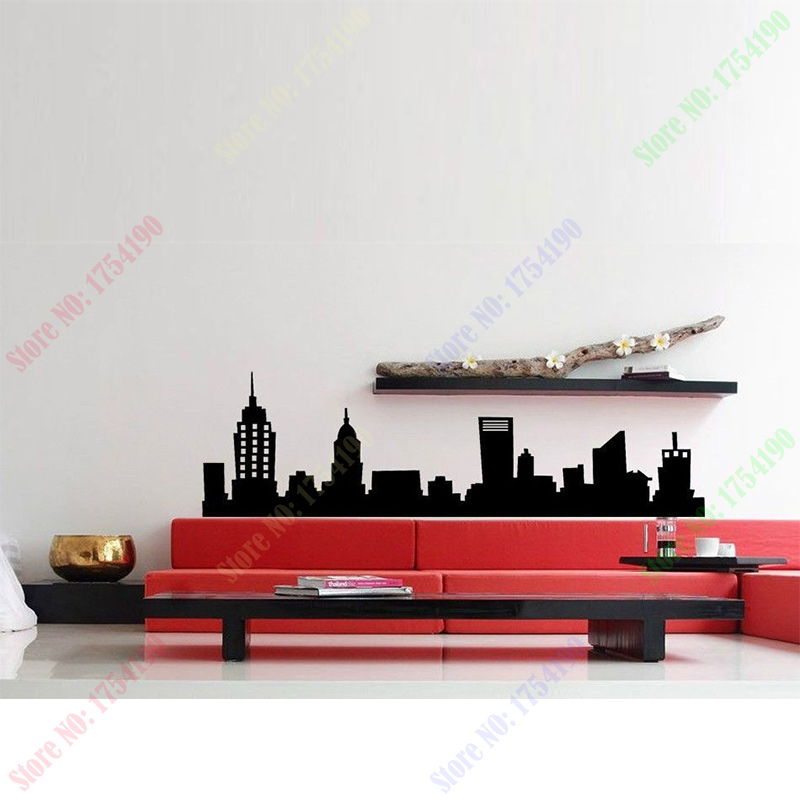 2017 new york city nyc skyline mural vinyl wall art decal for Home decor stores in nyc