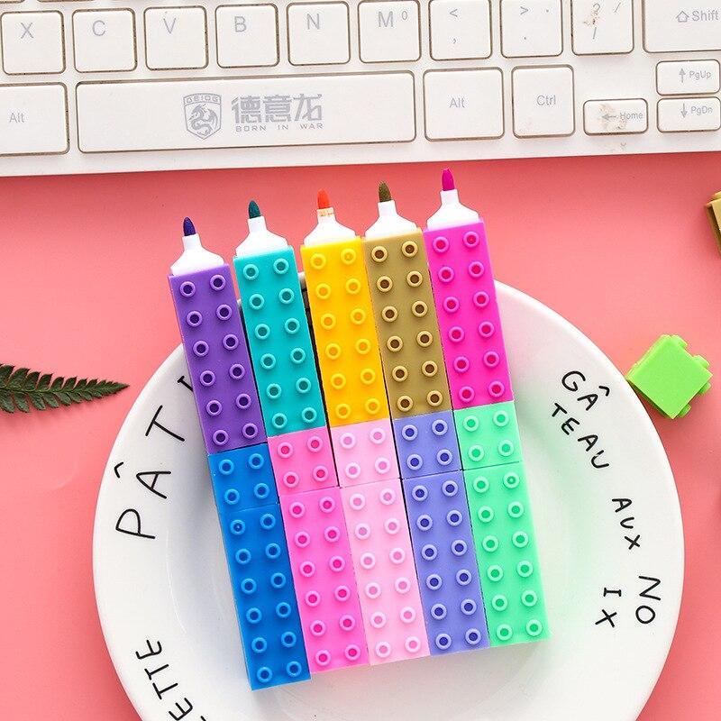 36 pz/scatola Bella Lego giocattolo A Forma di Colore Della Caramella Highlighter Penne Per La Scrittura Carino Viso Marcatore Graffiti Penna di Forniture Per Ufficio Scuola36 pz/scatola Bella Lego giocattolo A Forma di Colore Della Caramella Highlighter Penne Per La Scrittura Carino Viso Marcatore Graffiti Penna di Forniture Per Ufficio Scuola