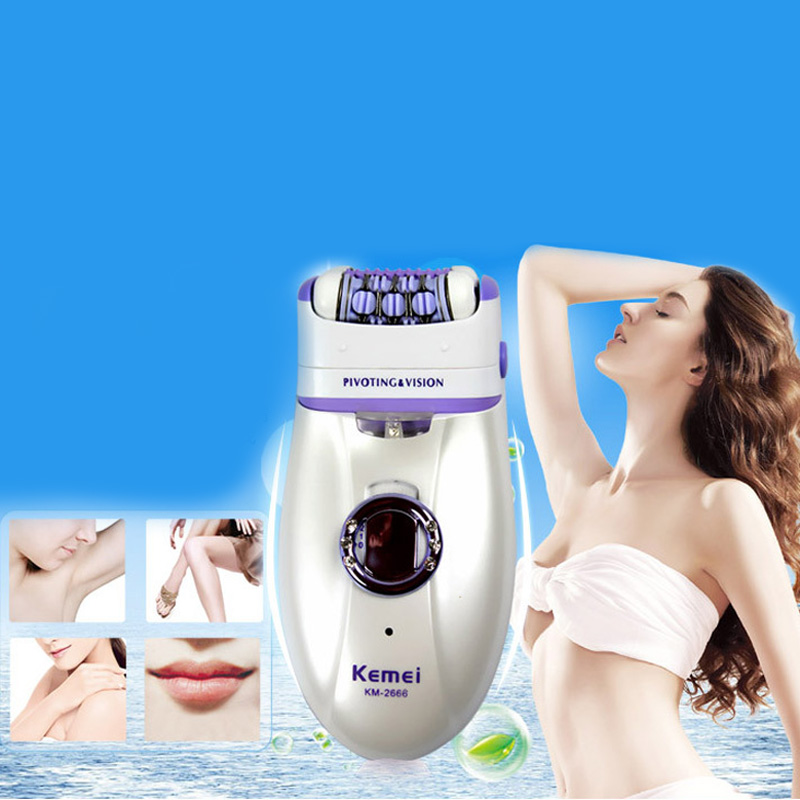 KM 2668 2in1 Women electric shaver Shave hair removal Epilator callous Remover Velvet Smooth Waterproof Dual Head Hair Removal