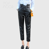 High waist style black 100% genuine leather trousers with fashion belt pantalon femme pantalones mujerLT2753