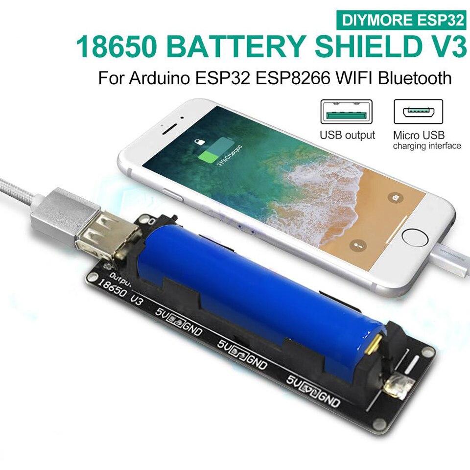 ESP32 ESP-32 LED Micro USB Wemos 18650 Battery Shield V3 3V//5V With Cable