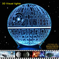 Estrela da morte 3D Mudança de Cor Luz Da Noite USB lâmpada de Mesa Lâmpada de Mesa Led Nightlight Crianças Lampara Para Os Fãs de Star Wars The Force Desperta
