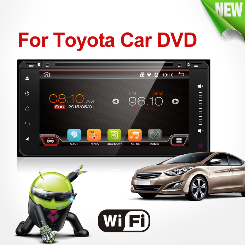 Quad Core voiture dvd android double din navigation gps Wifi + Bluetooth + Radio pour Toyota Hilux Camry Corolla Prado RAV4