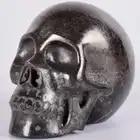 5 дюймов статуя Природный Медь Пирит Большой Череп 1967g подарки с украшением в виде кристаллов с головами, ручная резьба Статуэтка Искусство исцеления Декор - 4