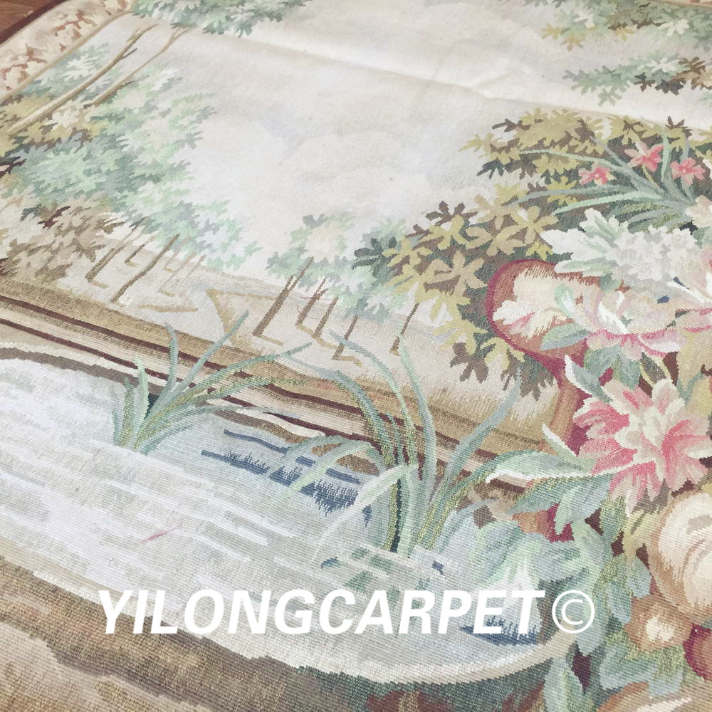 Yilong 4.2'x5.6' Wall hanging tapestry pure 100% wool french hand woven aubusson tapestry (Au32 4.2x5.6) - 4