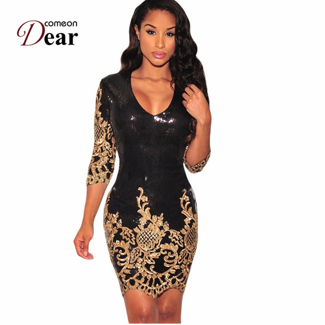 89570f08915f1 US $23.99 49% OFF|Comeondear Spring Auntumn Women Dress About Knee Sexy  Sequins Sleeves Bodycon Party Club Sexy Sheath Dress Robe Ukrain RK80349-in  ...