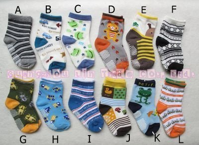 [Free Shipping] A grade Quality! all cotton children socks , kid socks with anti-slip, size:12-15cm for 1~4 years old.multicolor