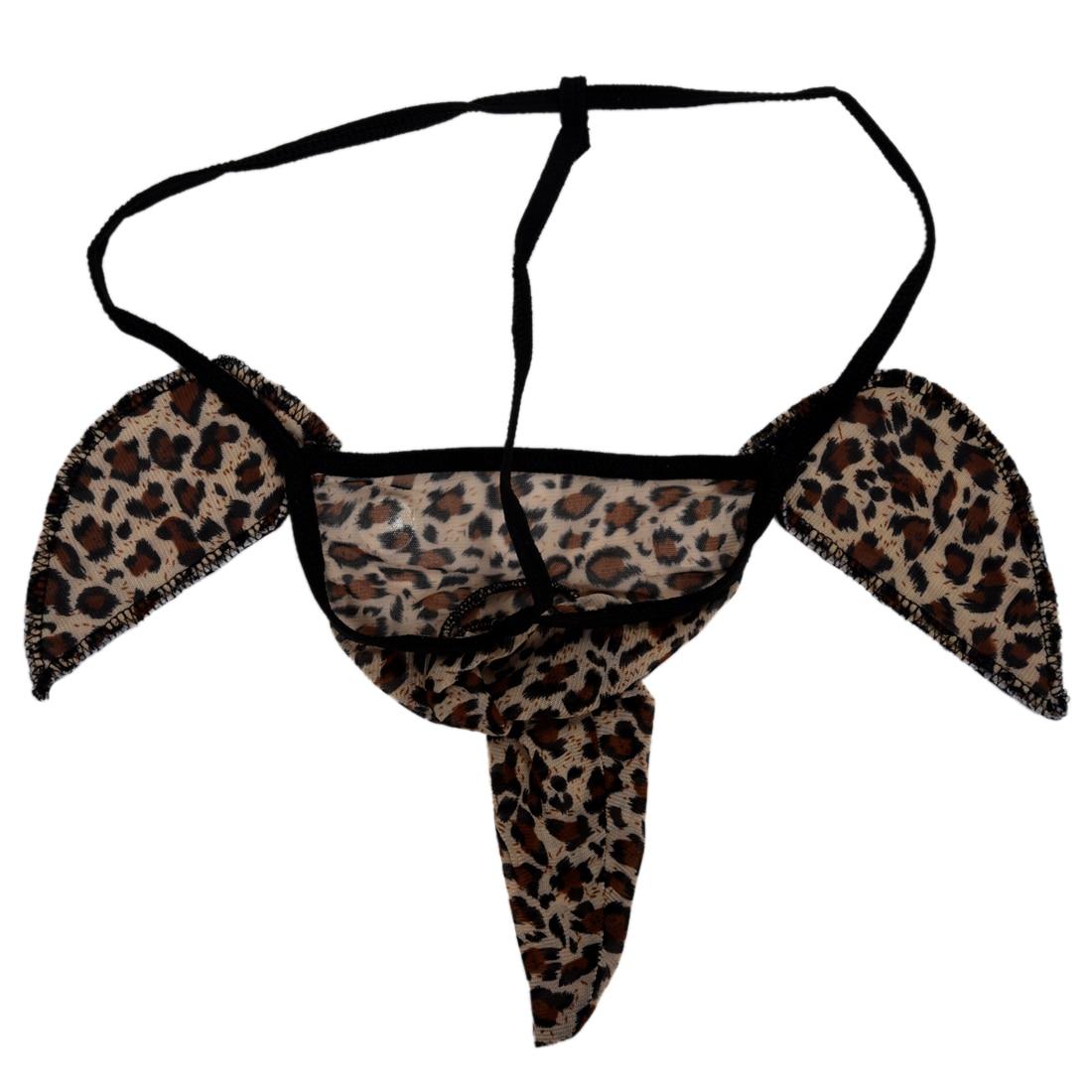 f7b5994b154 Hot Sexy Men Elephant Underwear Pouch Briefs Thongs Funny G-string-Leopard
