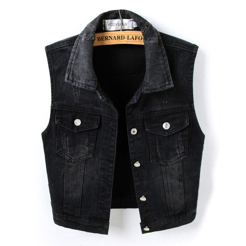 Black Sleeveless Female Jacket Korean Slim Jeans Coat Single-breasted Short Women's Denim Vest 4XL Plus Size Waistcoat Summer