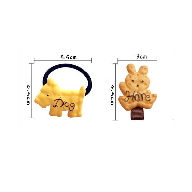 1 Uds forma de dibujos animados Scrunchy niñas bonitas galletas simuladas diademas de clip para cabello horquillas horquilla para Niños Accesorios para el cabello
