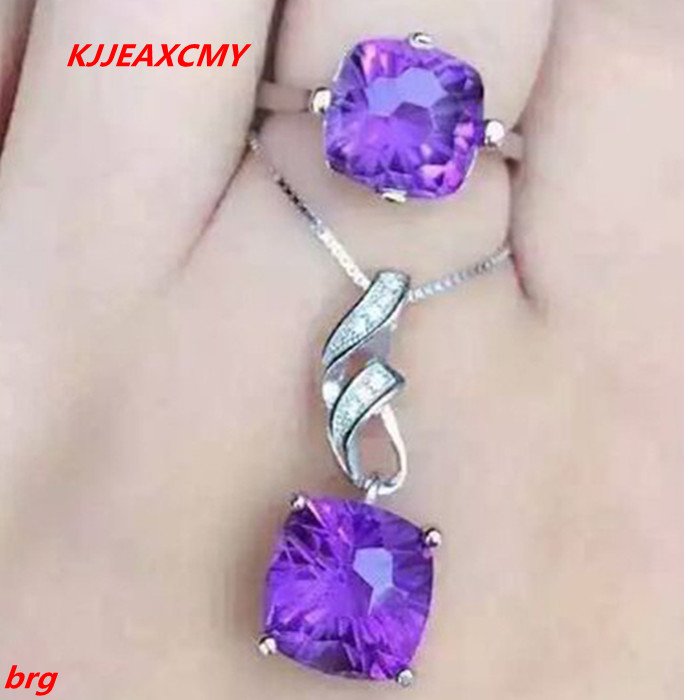 KJJEAXCMY Fine jewelry, 925 sterling silver inlaid natural amethyst bride two pieces of jewelry kjjeaxcmy fine jewelry 925 sterling silver inlaid natural amethyst ring wholesale opening ladies adjustable support testing