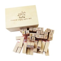 40 Pcs Set Wooden Box Rubber Clear Cute Animal Stamp Lovely Diary Pattern Stamp DIY For