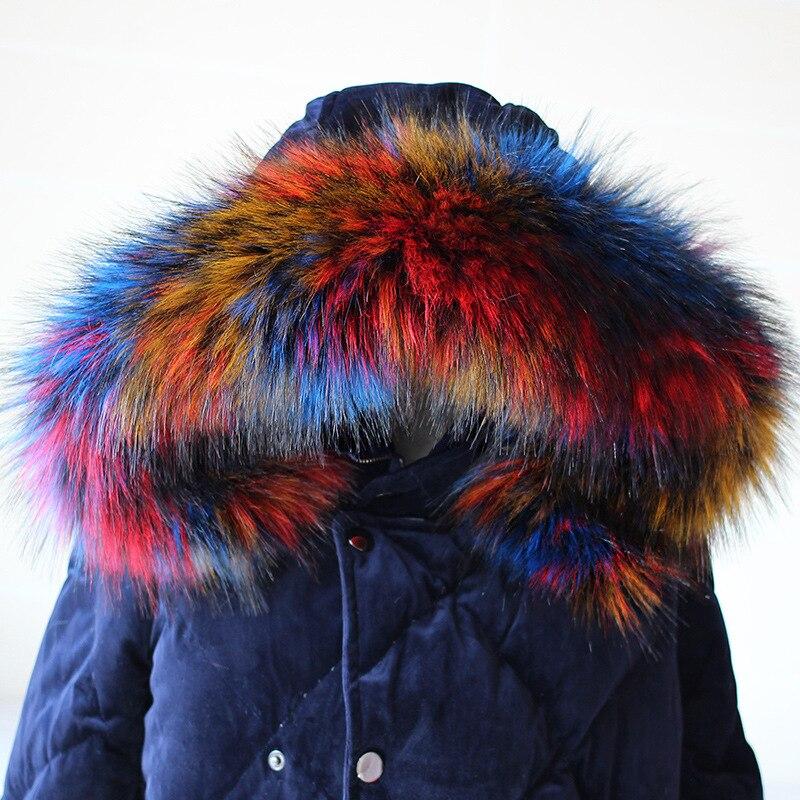BONJEAN 70cm 75cm 80cm 85cm 90 cm Big Size Raccoon Fur Collar Women faux fur mink scarf Winter Coat Neck Cap Long Warm Sarf