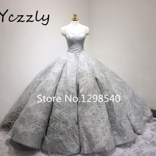 Luxury Bling Wedding Dress 2017 Gray Sweetheart Ball Gown Puffy ...
