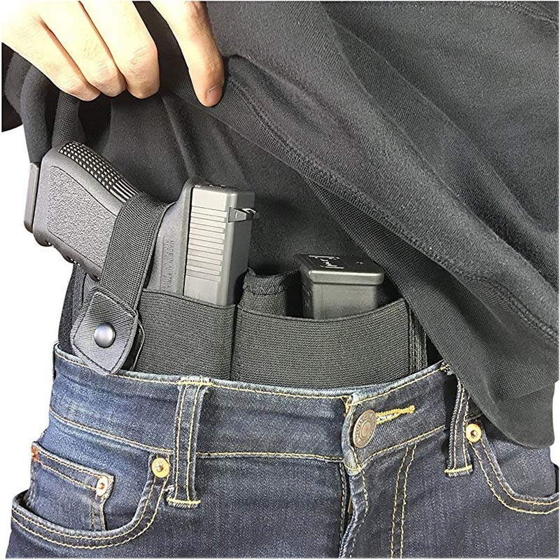 Concealed Carry Holster Tactical Right-hand Belly Band Airsoft Gun Case With Magazine Pouch For Universal Pistol Military Combat