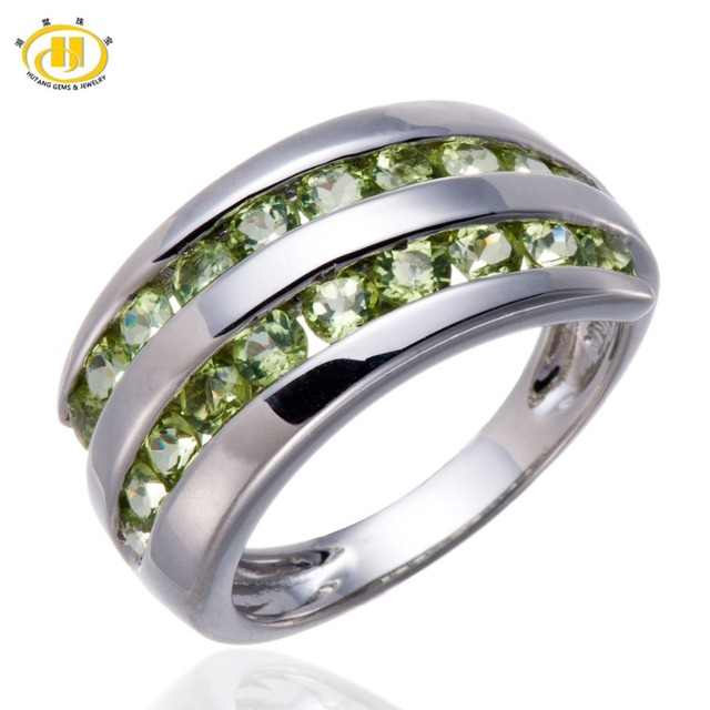 Hutang Natural Peridot Gemstone Solid 925 Sterling Silver Ring Fine Jewelry August Birthstone
