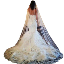 Doragrace White Ivory 1 Layer Lace Edge Long Cathedral Wedding Bridal Headwear Veil