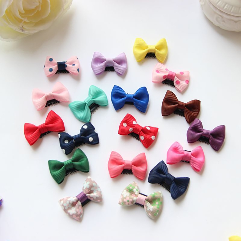 10Pcs/lot Sewing Solid Dot Infant Baby Small Ribbon Bow Hair Clip Boutique Hairpins For Children Girls Kids Hair Accessories 10pcs girls hairclip metal snap hair clip cute small kids flower print hair accessories black gradient ramp fashion hair slides