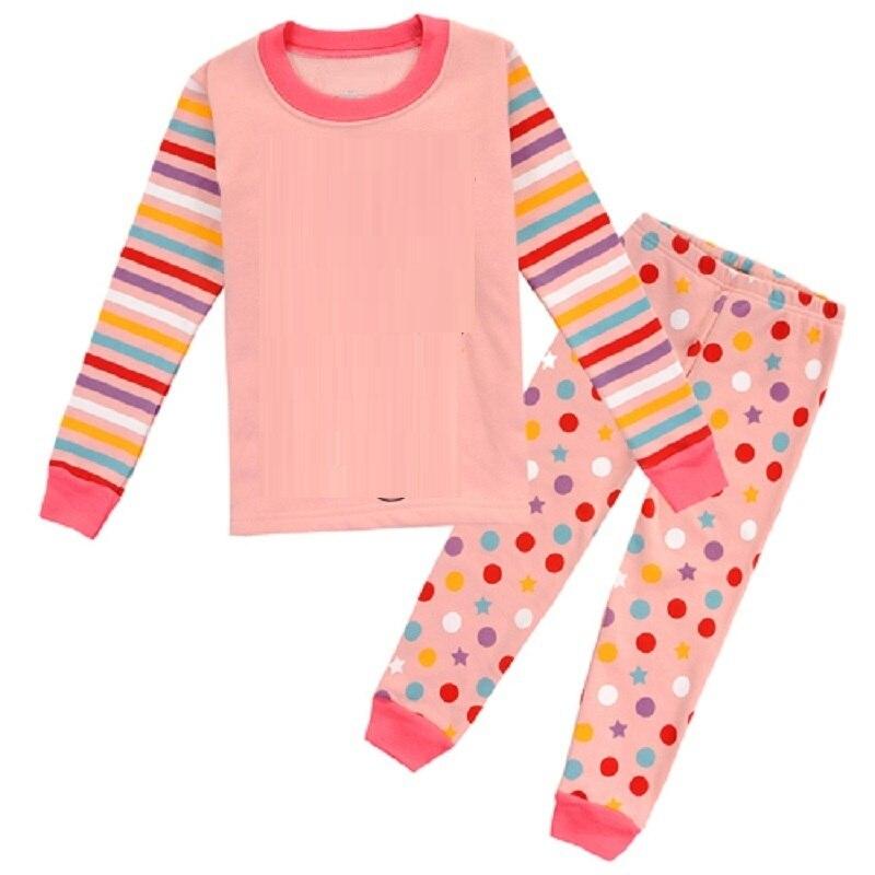 2-12 Year Children   Pajamas     Sets   Polka Dot Baby Girls Sleepwear nightdress Pink Girl pijama loungewear T-Shirt Trouser PJS Cotton