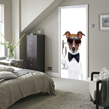 3D Print Dog Poster PVC Waterproof Entire Door Sticker Creative Stickers Door Wall Sticker DIY Mural Bedroom Home Decor