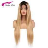 Карина полный кружева натуральные волосы парики с ребенком волос Glueless парики шнурка с натуральных волос бразильский Реми Ombre Цвет волос 1b27