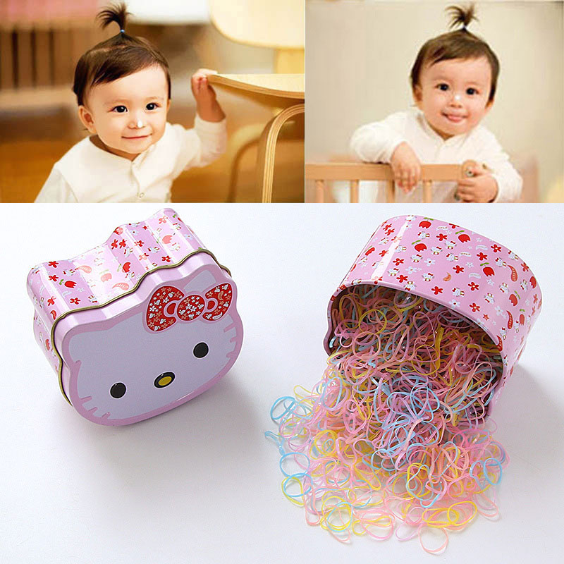 700PCS Gift Box Packed Disposable Baby Girls Candy Colors Ring Elastic Hair Bands Ponytail Holder Kids Headwear Hair Accessories стоимость
