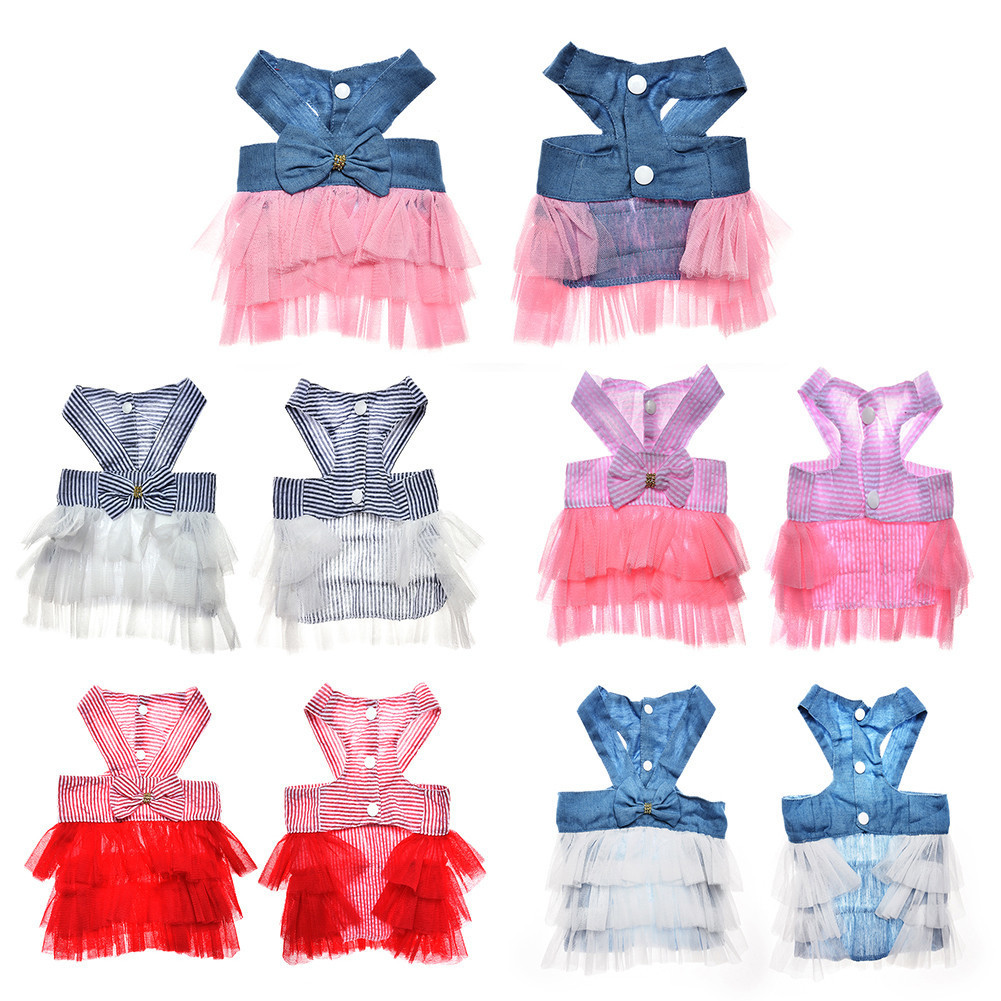 2017 New Multi Colors Puppy <font><b>Dog</b></font> Striped Suspender Model Skirt Pet Grenadine <font><b>Dress</b></font> Summer <font><b>Dog</b></font> Clothes <font><b>Dresses</b></font> <font><b>XS</b></font>/S/M/L image