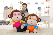 a pair of big new creative lovely monkey toys stuffed glasses monkey dolls gift about 60cm