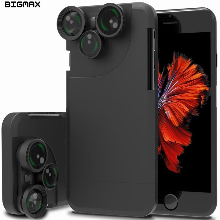 Fotograf Photo Lover Touring Příslušenství Rybí oko Široký úhel Makro 4 In1 objektiv fotoaparátu Pouzdro na telefon pro pouzdro iphone X 8P 7 8 6S