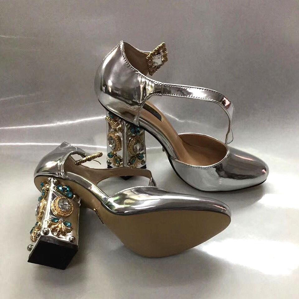 Chunky Femmes Pompes Boucle Or Sandales Bijoux Propriétaire Strass silver Miroir Style Partie Chaussures Haut De Talons Ornée Mujer Zapatos Argent Golden w7B4qYt4
