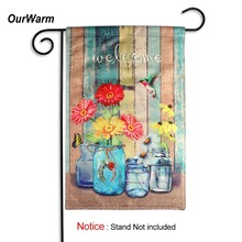 OurWarm Burlap Wedding Decoration Flags and Banners Outdoor Indoor Garden Welcome Sign Home Accessories 30x45cm