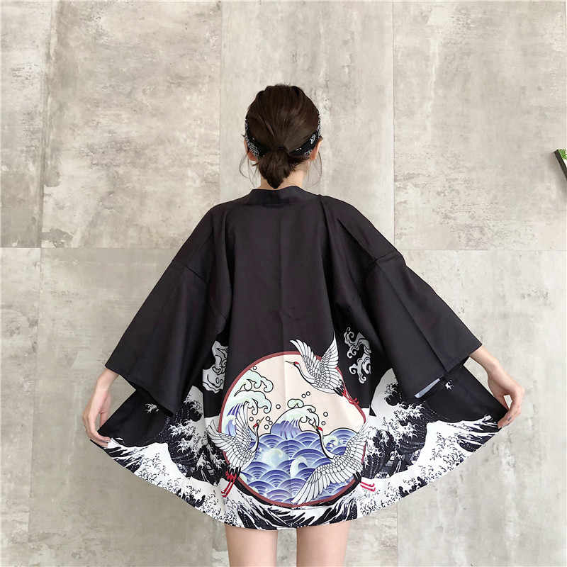 Estilo japonés bata moda Cardigan mujer Kimono tradicional japonés Cosplay traje mujer Yukata Obi Haori chaquetas ropa asiática