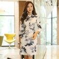 Весной и летом женщины одеваются элегантный печати винтаж платье молодые девушки черно-белые повседневные платья 8016
