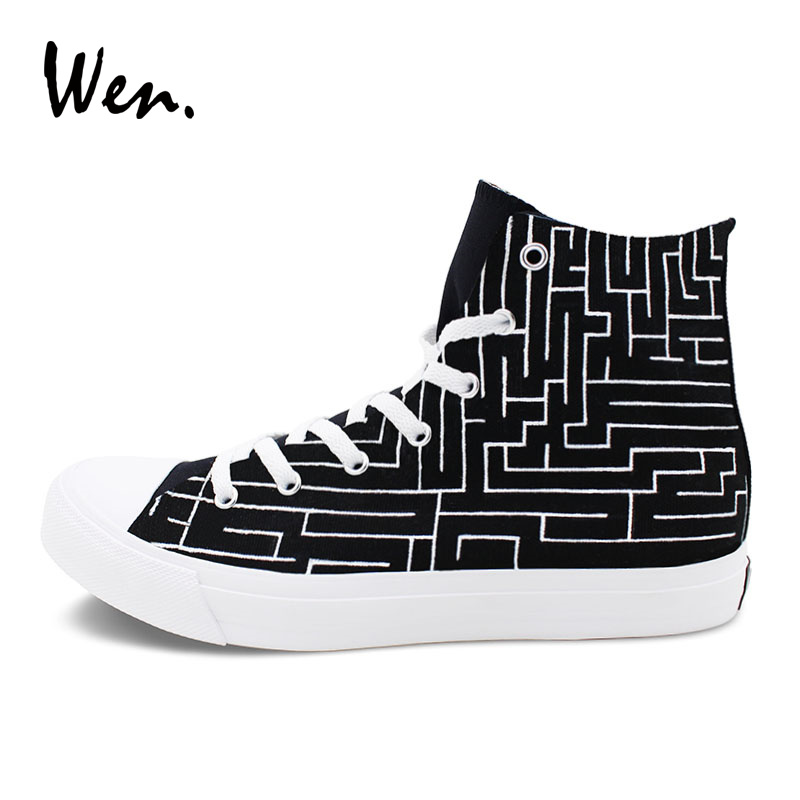 Wen Original Hand Painted Shoes Design Labyrinth Maze Black High Top Athletic Canvas Shoes Man Woman Sport Sneakers 2017 purple galaxy nebula original design converse all star men women shoes hand painted high top man woman sneakers washable